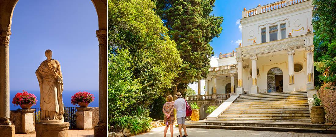 Staty vid havet och ett par p� semester som tittar p� ett hus i Sorrento, Italien.