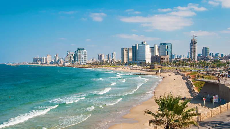 Stranden vid Tel Aviv i Israel.