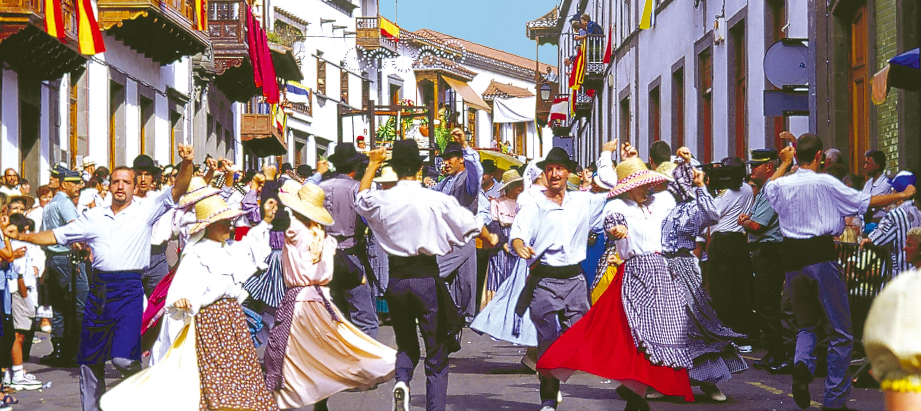 folkfest på gatorna i spanien med dans