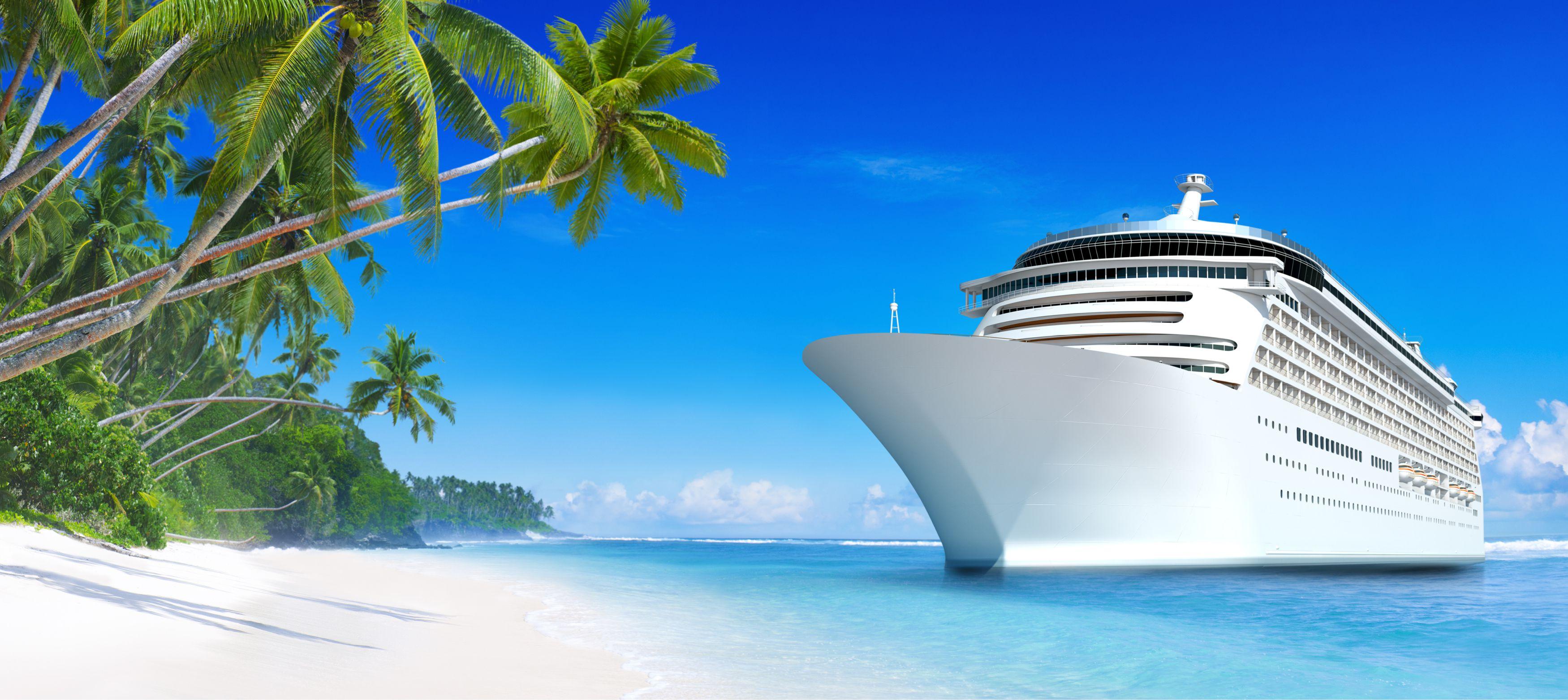 kryssningsbåt intill en ön i karibien med palmer