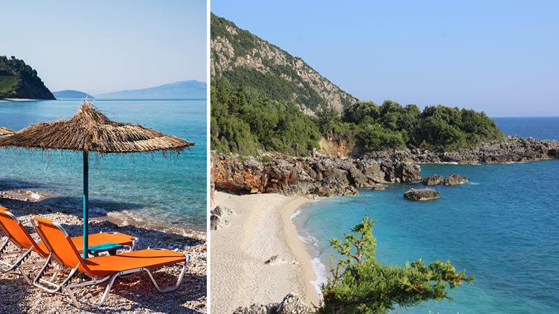 Vackra sandstränder, sol och hav i semesterorten Dhermi på en resa genom Albanien.