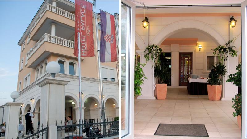 Fasadöversikt och entrédel tillhörande hotell Trogir Palace på resa till Balkan