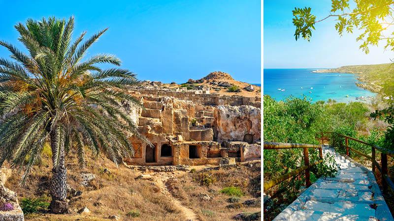 Grön natur, blått hav och ruiner på ön Cypern.