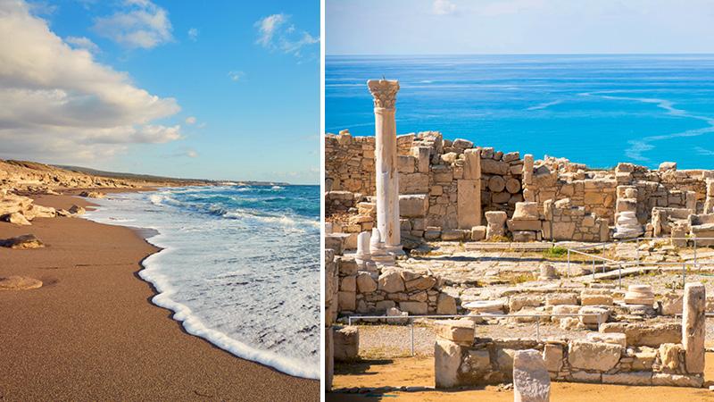 Arkeologiska ruiner och stranden i Paphos stad på Cypern.