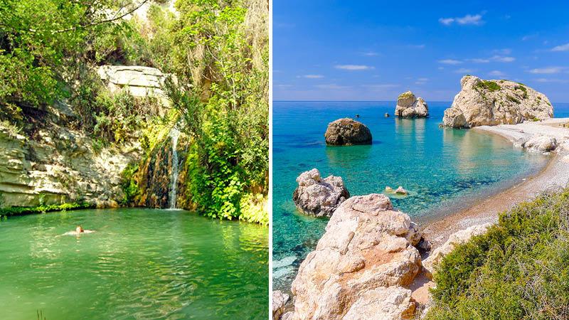 Afrodites bad och Afrodites klippa på Cypern.