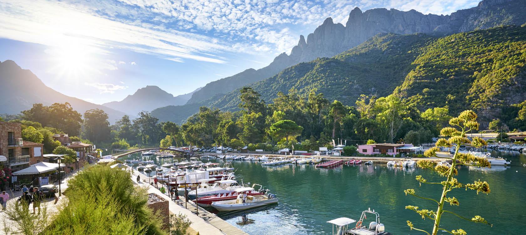 vackra korsika med båtar, hamn och berg i bakgrunden