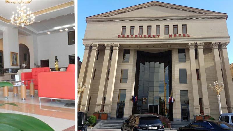 Elegant entré och lobby på Royal Palace Hotel i Armenien.