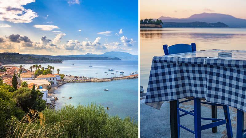 Kalamata och en taverna i Grekland.