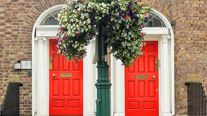 stadsvandring genom dublin bland färgglada dörrar