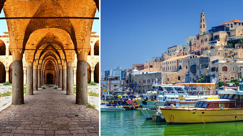 Gammal byggnad i Akko och hamn i Jaffa i Israel.