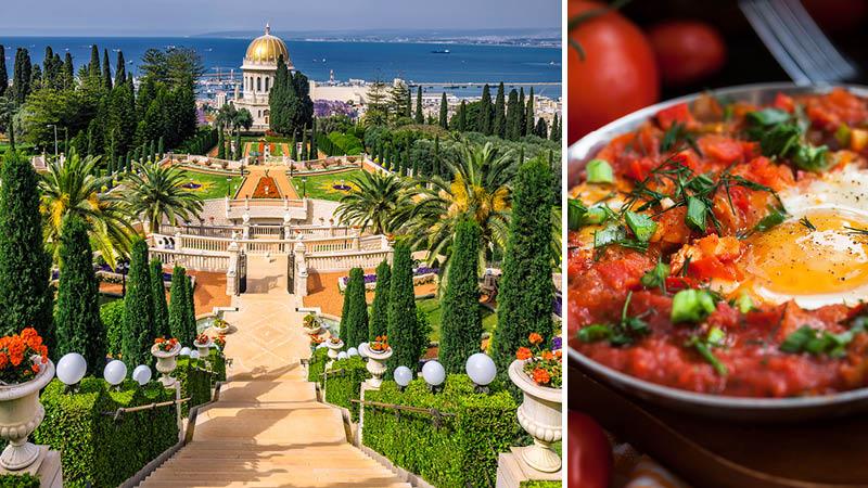Bahai garden med färggranna blommor och Isrlaensk mat på resa till Israel.