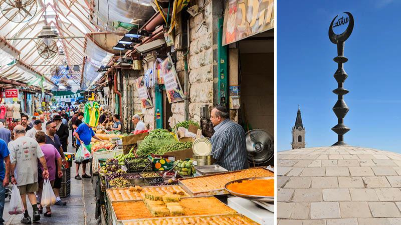 Marknad med kryddor, tyger och frukt i Jerusalem.