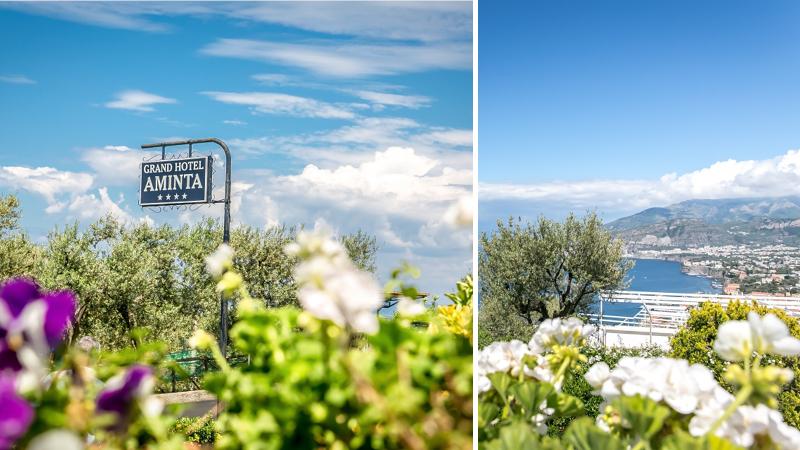 Vy över grönskande dal och hav vid hotell Grand Amina