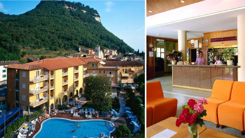 Frontbild och lobbybild av Hotel Bisesti på resa till Gardasjön.