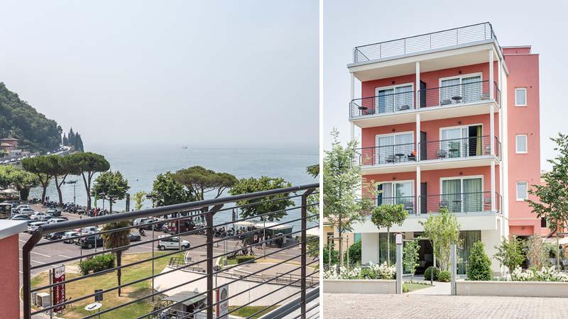 Utsikt från och entrén till Hotel Europa vid Gardasjön i Italien.