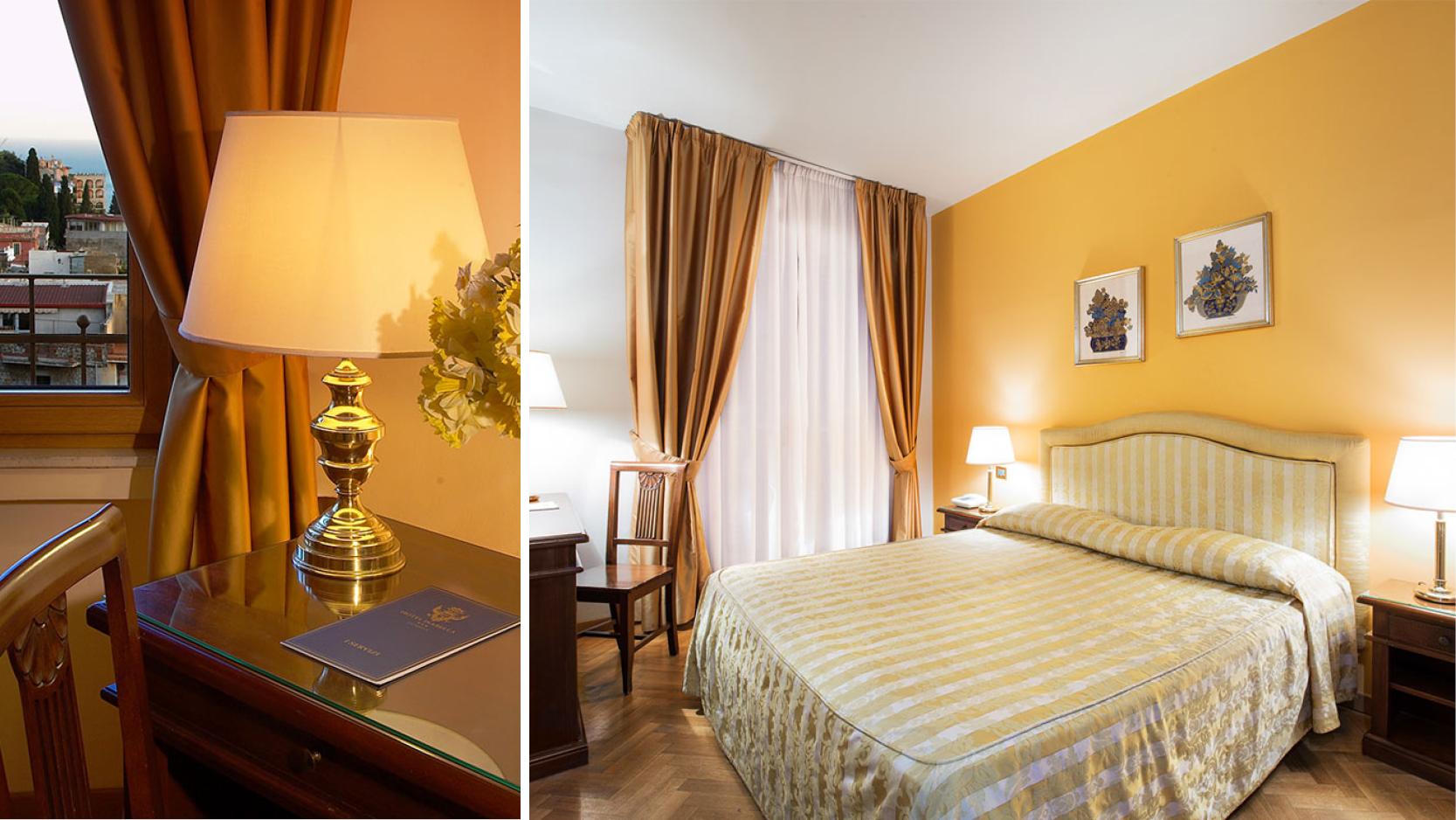 Dubbelrum med komfort på hotell Isabella i centrala Taormina, Sicilien.