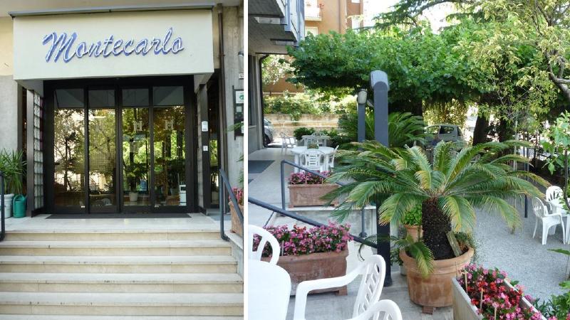 Hotellentré och uteservering på Hotel Montecarlo i Italien.