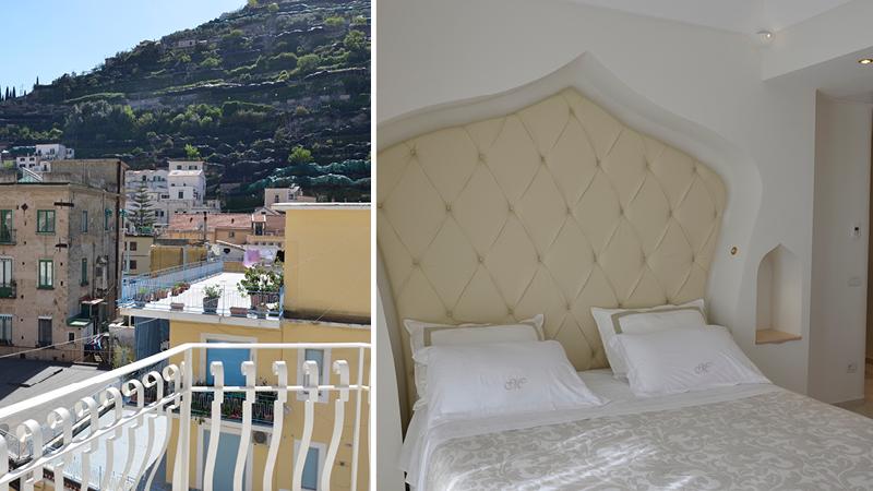Utsikt från balkongen på det 4-stjärniga hotellet Minori Palace i byn Minori längs Amalfikusten.