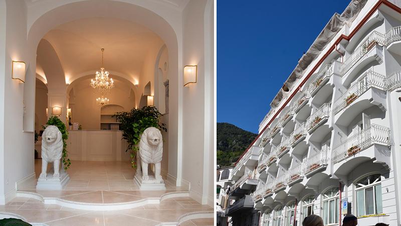 Entr� med lejonstatyer och v�xter p� det 4-stj�rniga hotellet Minori Palace i byn Minori l�ngs Amalfikusten.
