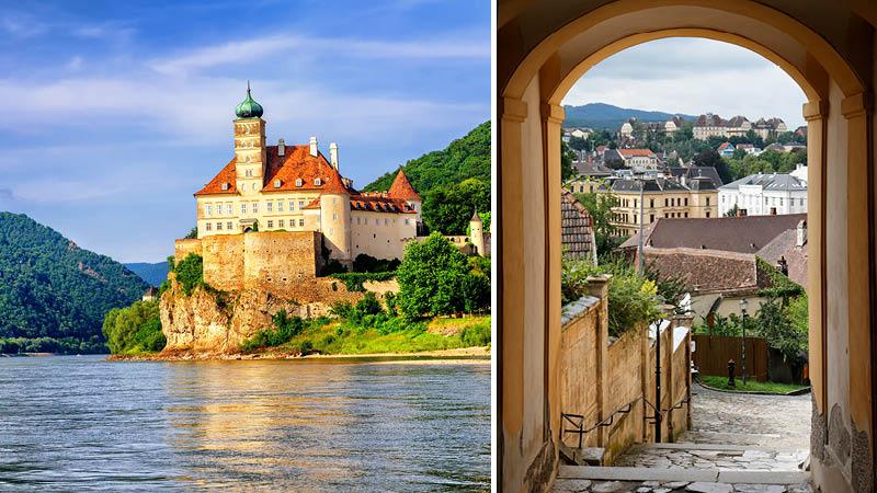 Klostret Stift Melk med utsikt över Donaufloden och pittoreska gator i Wien.