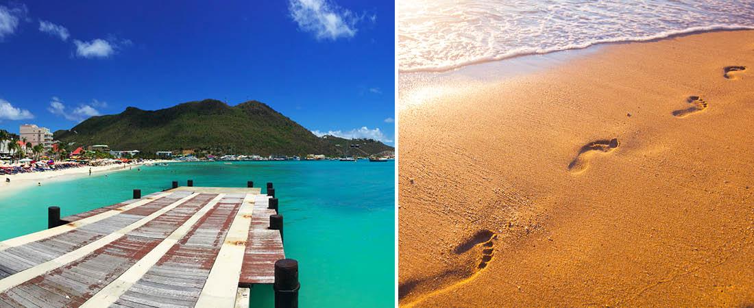Pir som går ut i havet och fotspår på sandstrand. P kryssnig genom det karibiska öriket.