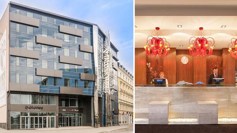 Utsidan av Hotell Tallink i Riga i Lettland, samt dess reception med personal.