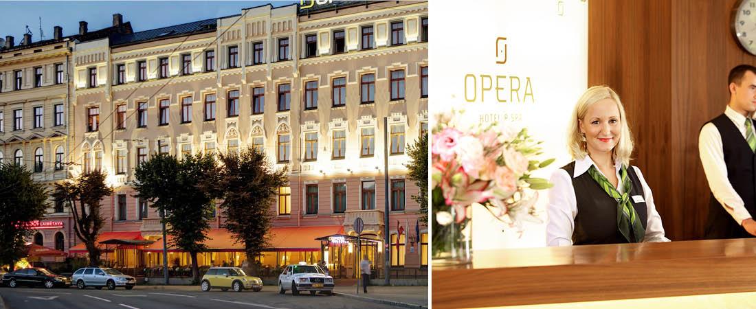 Fasadvy och bemannad receptionspersonal på Hotell Opera