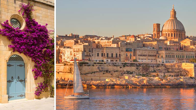 Lila blommor och Valetta sett från havet i solnedgång på Malta.