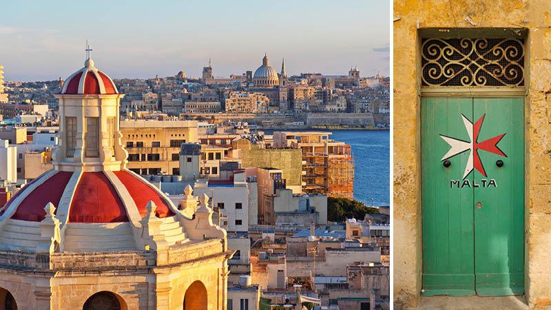 Grönmålad dörr och utsikt över Valletta i solnedgång på en resa genom Malta.