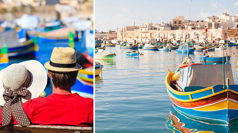 Par som njuter i hamnen i Marsaxlokk på Malta.