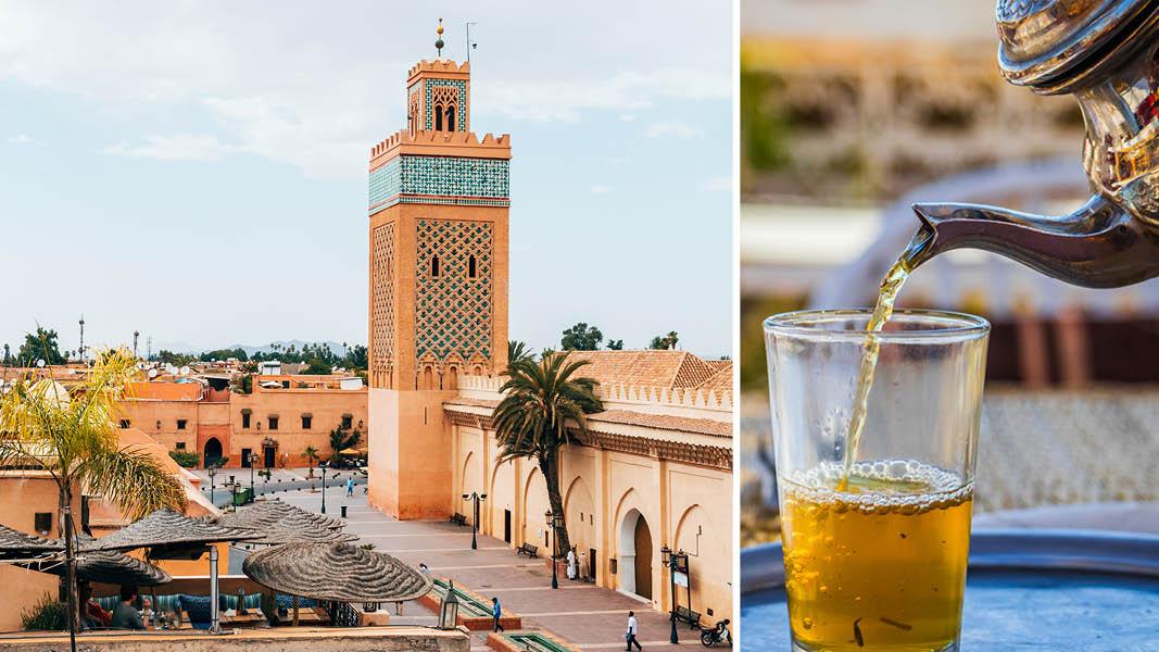 Kautoubia moskén och te i Marocko.