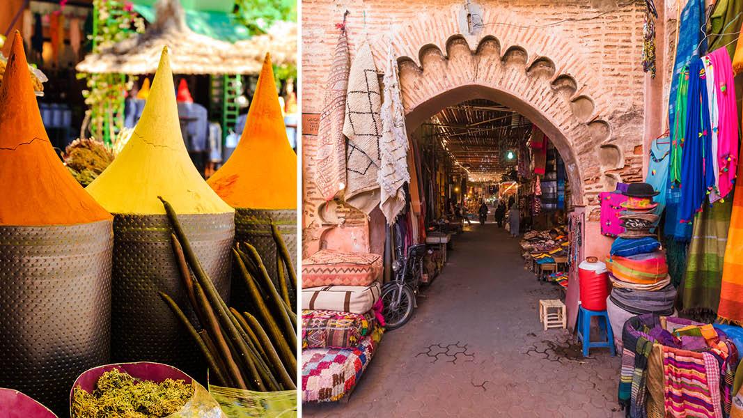 Kryddor och lång marknadsgatan i Marrakech i Marocko.