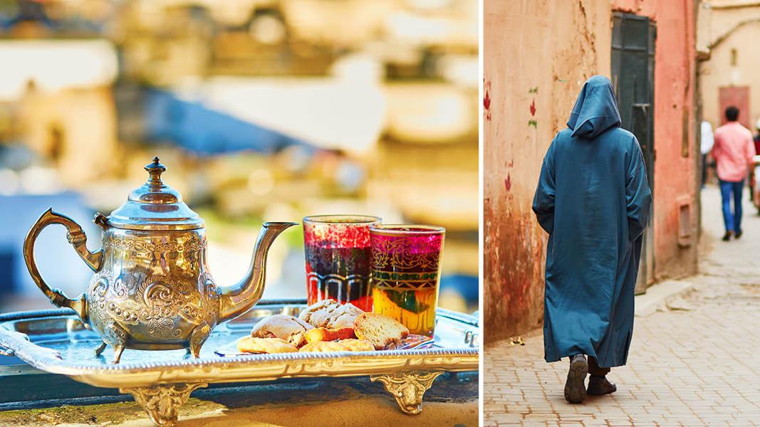 Färgglatt te och inhemsk befolkning på en gata i Marrakech i Marocko.