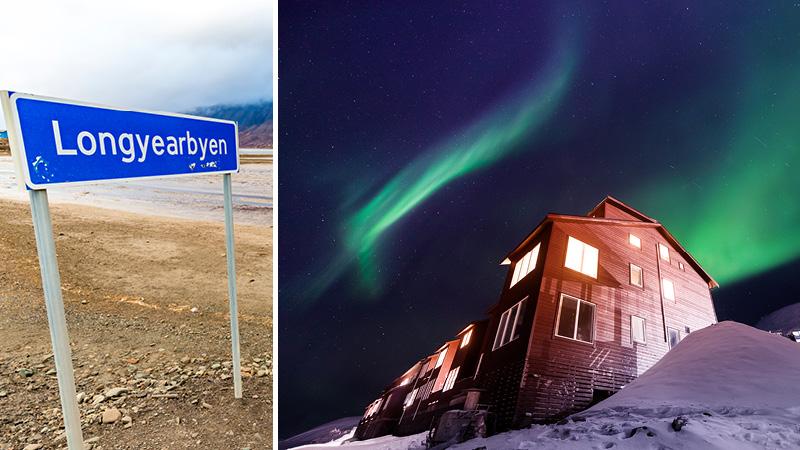 Grönt norrsken på natthimlen ovanför en trästuga i Longyearbyen på Svalbard.