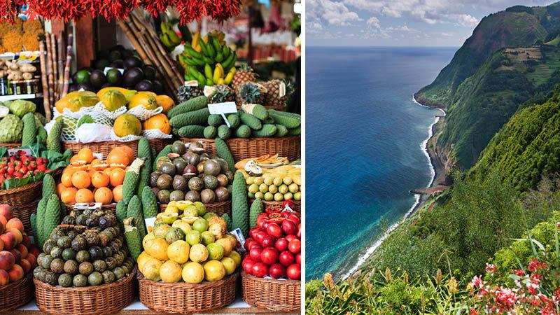 Grönsaker på marknaden i Funchal och Madeiras dramatiska kustlinje.