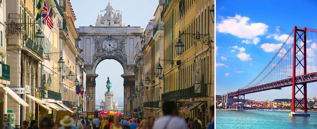 Vacker vy över gata med folkvimmel och valvliknande byggnad på resa till levande Lissabon.