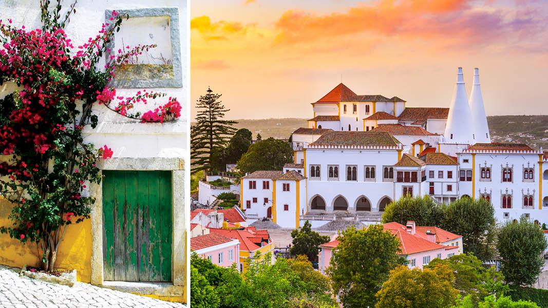 Kungastaden Sintra med slottet Palacio Nacional de Sintra i solnedgången, och vacker gata med blommor i Portugal.