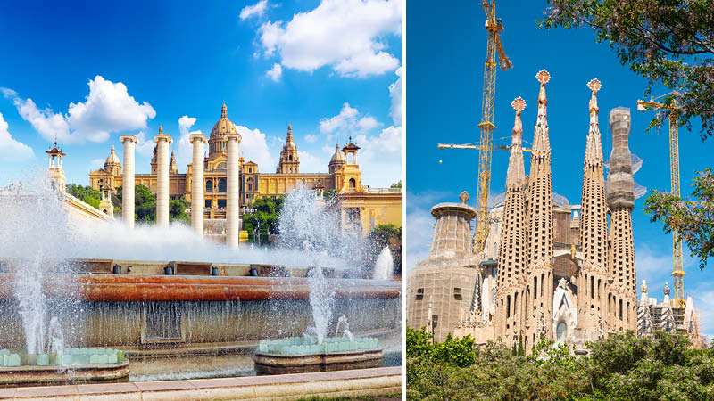 Vacker arkitektur och La Sagrada Familia i Barcelona.