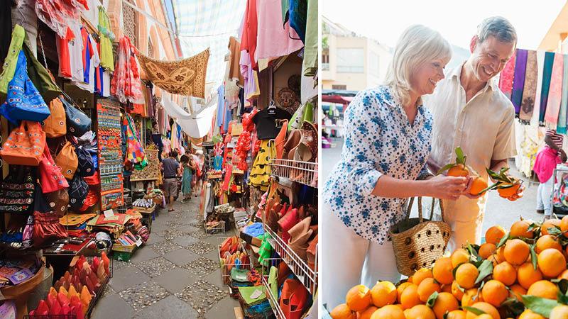marknad i spanien med färsk frukt, hantverk och mattor i granna färger, på resa genom andalusien
