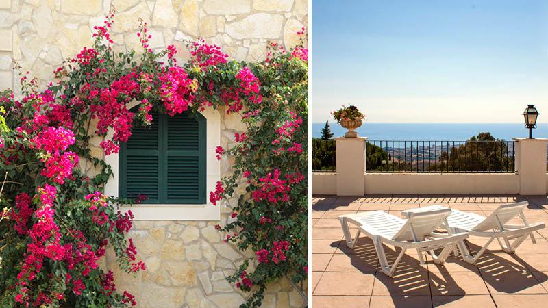 solterass med solstolar och utsikt över havet och rosa blommor på resa till mijas, spanien