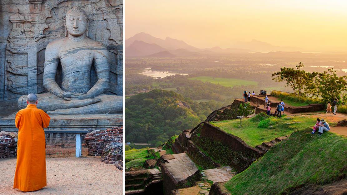 En munk vid en staty av Buddha vid ruinerna i Polonnaruwa samt utsikten vid Sigiraya-berget i Sri Lanka, Asien.